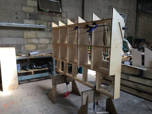 We made two matching shelving units.
